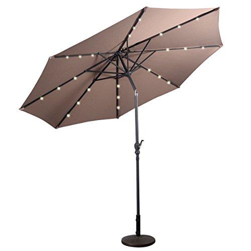10 FT Solar Umbrella LED Patio Octagonal UV Protective Sun Shade