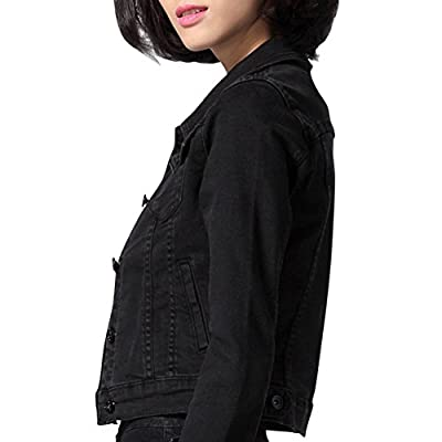 Dasior Women's Slim Fit Short Cropped Button Down Jean Denim Jacket with Pockets at Women's Coats Shop