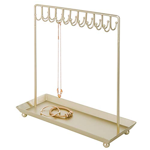 MyGift Brass-Tone Metal 20-Hook Necklace Display Stand with Ring Tray