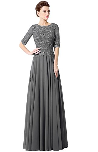 anmor Womens Lace Applique Mother of Brides Dresses Formal Long Chiffon Sequin Evening Prom Gwons Gray US4