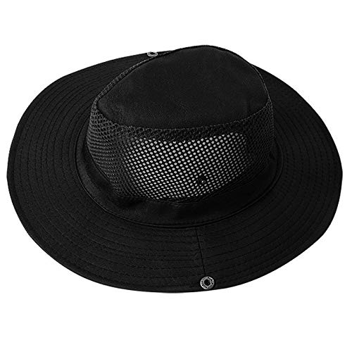 Angoo Fishing Sun Boonie Hat Waterproof Summer UV Protection Safari Cap Outdoor Hunting Hat (Black)