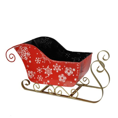 The Lucky Clover Trading Snow Flakes Sleigh Large 10 in Basket Red (Santa Decoration Sleigh)