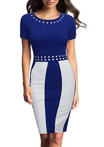 Blue Wear Neck (FORTRIC Women Short Sleeve Round Neck Elegant Bodycon Wear to Work Party Dress Blue XXL)