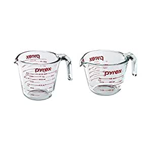 Pyrex Prepware Measuring Cup, Clear with Red Measurements, Duo Set, 1-Each 1-Cup and 2-Cup