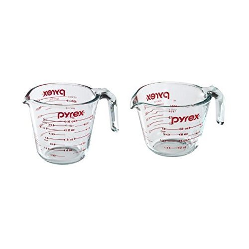 Pyrex Prepware Measuring Cup, Clear with Red Measurements, Duo Set, 1-Each 1-Cup and 2-Cup - Measuring Cup Set Pyrex