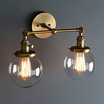 Phansthy vintage 2 light wall sconce industrial wall light 59 phansthy vintage 2 light wall sconce industrial wall light 59 globe glass lampshade aloadofball Image collections