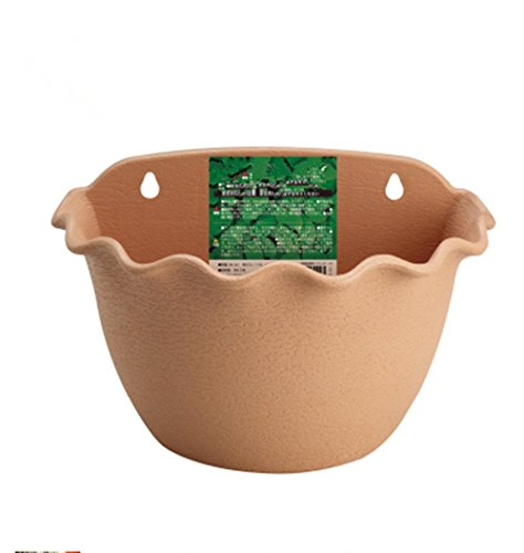 Link Solar Wall Hanging Resin Planter Flower Plant Pot Indoor or Outdoor Container Gardening Wave Edge Pottery Style(Light Brown, 3044)