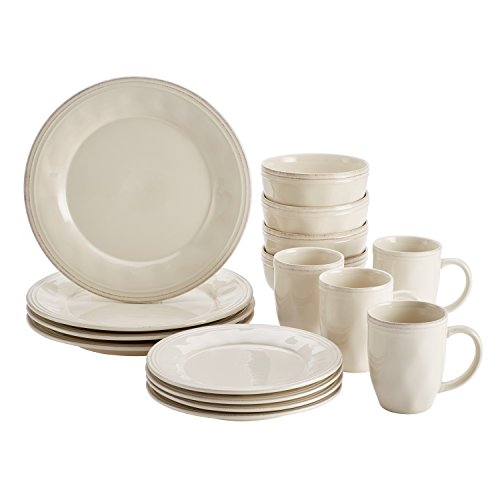 Rachael Ray 46803 Cucina Dinnerware Set, 16Piece, Ricotta Wh
