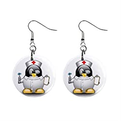 Cartoon Nurse Penguin Dangle Button Earrings