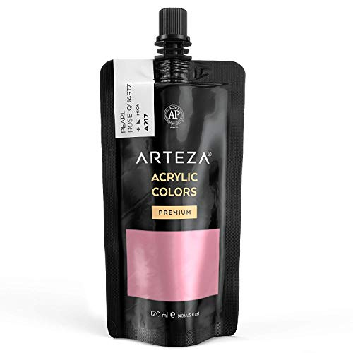 Arteza Metallic Acrylic Paint, Pearl Rose Quartz A217, 120 ml Pouch, Highly Pigmented & Fade-Resistant, Non-Toxic, for Artists, Hobby Painters & Kids