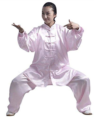 SUKIYAKI Tai Chi Kung Fu Martial Arts Uniform Adult Long Sleeves Men Women White Black Blue Red Pink (Pink L)