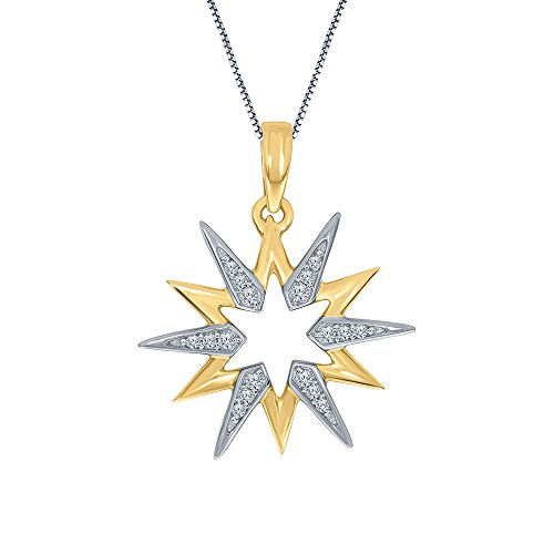 0.09ct White Diamond 14K Yellow Gold Plated 925 Sterling Silver Geometric Moravian Star Pendant Diamond Necklace for Womens Teens (Moravian Jewelry Star)