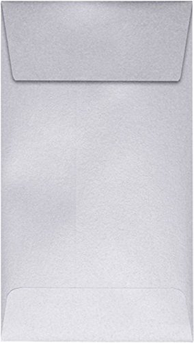 #5 1/2 Coin Envelopes (3 1/8 x 5 1/2) - Silver Metallic (50 Qty.) | Perfect for storing Small Parts, Coins, Jewelry, Stamps, Seeds, Small Electronic Parts and so much more! | 512CO-06-50
