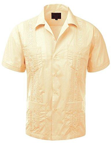 (vkwear Guayabera Men's Cuban Beach Wedding Short Sleeve Button-up Casual Dress Shirt (4X-Large, Cream))