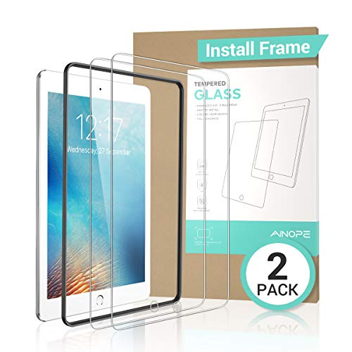 - AINOPE [2 Pack] iPad 9.7 6th Generation Screen Protector,[Easy Install Frame]Tempered Glass Screen Protector for iPad Pro 9.7/iPad 5/iPad Air 2 -Apple Pencil Compatible/High Definition/Anti-scratch