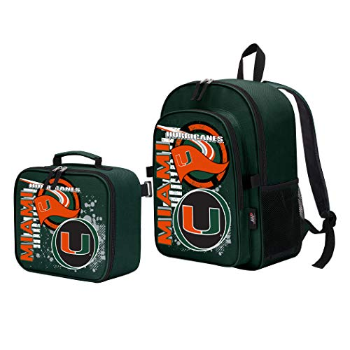 The Northwest Company Officially Licensed NCAA Miami Hurricanes Accelerator Backpack & Lunch Kit Set, Green, 16