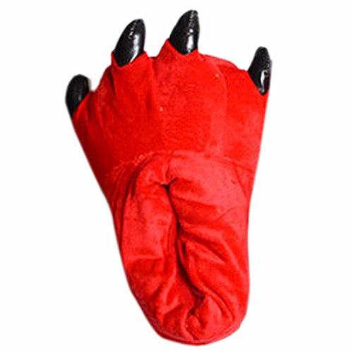 Unisex Artiglio Velluto Autunno Inverno Addensare Rosso Scarpa Caldo Adulto Slipper Zampa Morbido Animale dtqtwS