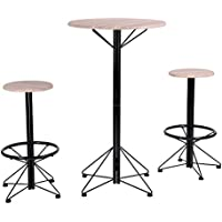 WarmCentre 3 Piece Dining Set Breakfast Table 2 Round Chair with Footstool Home Kitchen Dining Bistro Pub Furniture,MDF+Black