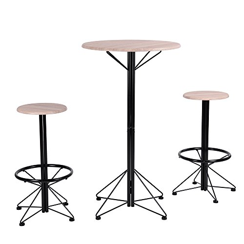 WarmCentre 3 Piece Dining Set Breakfast Table 2 Round Chair with Footstool Home Kitchen Dining Bistro Pub Furniture,MDF+Black (For Two Table Breakfast)