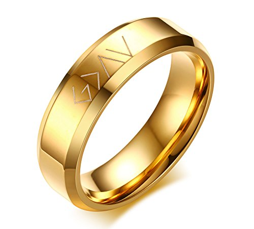 VNOX Christian Stainless Steel God is Greater Than The Highs and Lows Rings for Men Women,Gold Plated,Size 9