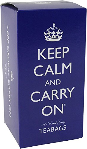 Keep Calm and Carry On Tea Carton Box, Earl Grey Tea (40 Bags, 80g, 2.8oz) (80's Theme)