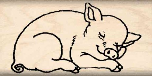 Pig Rubber Stamp - 1 inch x 2 inches