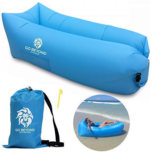 Go Beyond Outdoors Inflatable Lounger - Hangout Sofa With Carry Bag - Easy To Inflate with Wind - Use as Portable Air Hammock, Lazy Lounge Chair, or Blow Up Couch for Camping, Travel, Beach and Pool (Best Looking Vagina Ever)