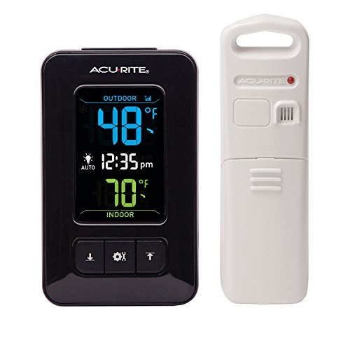 Acu Rite Plastic Thermometer - AcuRite 02023 Digital Indoor/Outdoor Thermometer with Clock