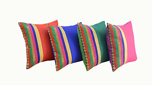 meSleep Set of 4 Pillow Case Brocade Dupion Silk Cushion Covers Bedding Decoration Sofa Couch Multicolor Bedding Gift item 12