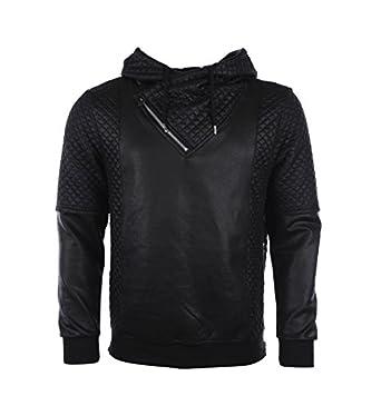 Sweat Homme Justway Noir à capuche simili cuir 5517_BK XL