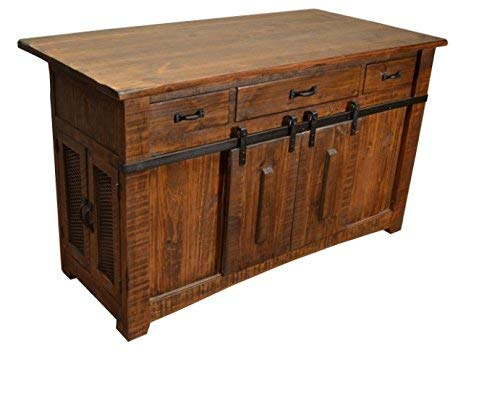 BurlesonHomeFurnishings Anton Farmhouse Solid Wood Distressed Brown Sliding Barn Door Kitchen Island with Storage and Rolling Casters