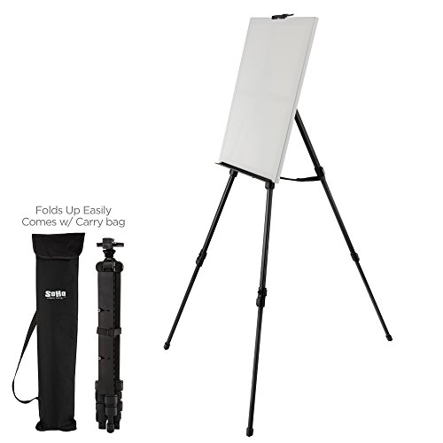 (Soho Urban Artist Aluminum Art Easel & Carry Bag for Plein Air Painting - Lightweight Anodized Aluminum Compact Painting Easel, Indoor Outdoor Use Holds Canvases up to 50