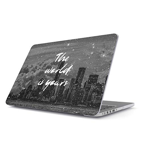 505 Apple (Glitbit Hard Case Cover Compatible with MacBook Air 13 inch Case Release 2018-2019, Model: A1932 with Retina Display and Touch ID World is Yours Motivational Quote City Landscape Cityscape NY)