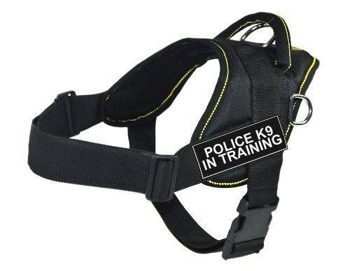 Dean & Tyler Fun Works Harness, Police K9 in Training, Black with Yellow Trim, X-Small, Fits Girth Size  20-Inch to 23-Inch
