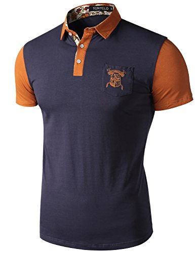 Tonyclo-Mens-Slim-Fit-Color-Block-Polo-Short-Sleeve-Shirt-Print-Point-Collar-Tops