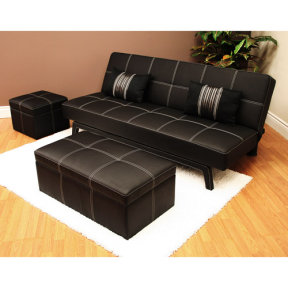 Walmart.com: Delaney Futon Sofa Bed 3 Piece Living Room Set, Black: Furniture