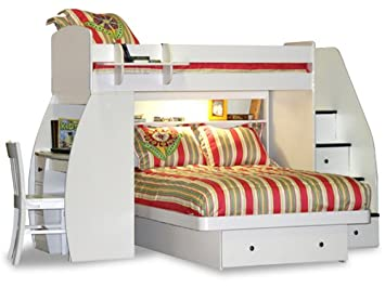 Amazon Com Sierra Twin Over Full L Shaped Bunk Bed With Desk And