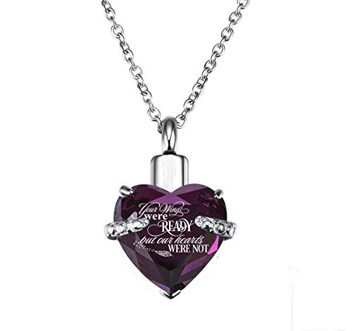 PREKIAR Heart Cremation Urn Necklace for Ashes Urn Jewelry Memorial Pendant with Fill Kit and Gift Box - Always on My Mind Forever in My Heart (Your Wings were Ready-Voilet)