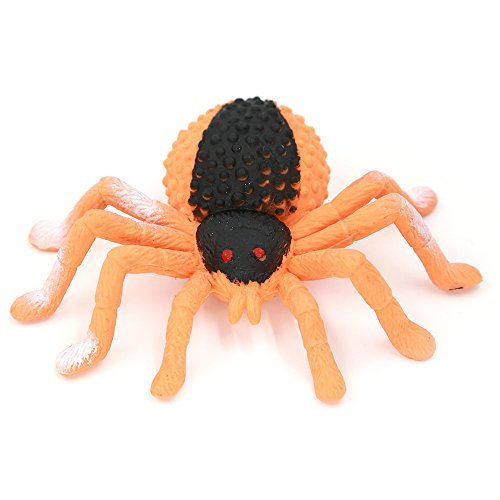 Halloween Decorations Jumping Spider (Halloween Decoration,4-inch Black Spider toy(jumping spider),Food Grade Material TPR Super Stretchy,Zoo World Gag Gift Practical Jokes Props Realistic Rubber Spider)