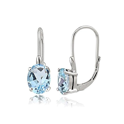 - Sterling Silver Blue Topaz 8X6MM Oval Leverback Earrings