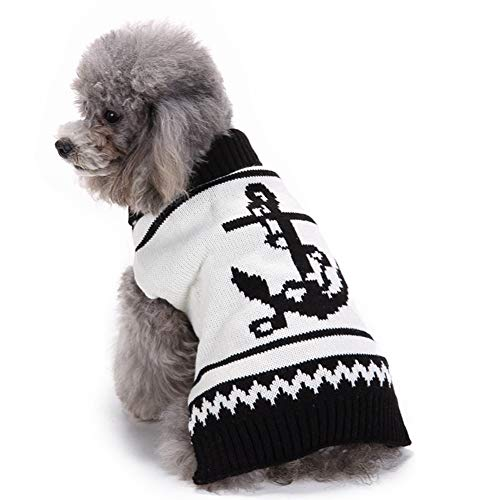- Puppy Clothes Winter Dress Big Dog Pet Sweater (2017) Latest Sailor Anchor Black and White Acrylic Pet Clothes (L)