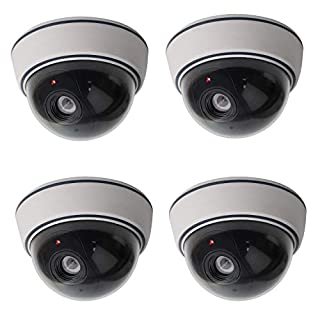 Lebote (4 Pack) Fake Dummy Security Camera CCTV Dome Camera with Flashing Red LED Light Dummy Surveillance Camera Outdoor Indoor Use for Home Security