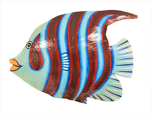 Hand-chiseled and Painted Tropical Metal Art Wall Decor Fish ()