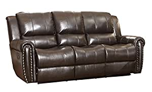 Homelegance Glider Genuine Leather Brown Reclining Sofa with Nail Head Accents