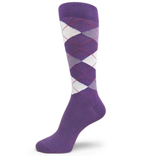 Spotlight Hosiery Men's Argyle Dress Socks-Light Purple Lavender White