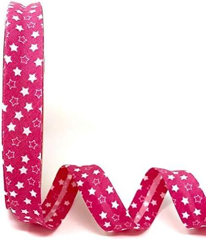 pr/ésent/é sur Une Carte de Ruban Berties Bows. Byetsa Biais Candy Pink 18 mm avec imprim/é /étoile Blanche sur Une Longueur de 3 m Il sagit dune d/écoupe /à partir dun Rouleau