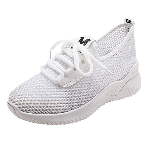 Loosebee Women'S Mesh Breathable Knit Lace Sports Running Shoes Casual Walking Sports Shoes