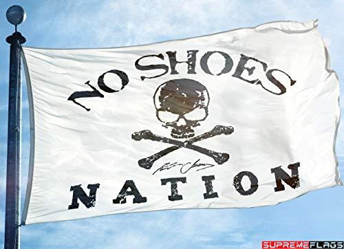 No Shoes Nation Flag Banner 3x5 Kenny Chesney Garage White Skull Bone - Bones Skull No
