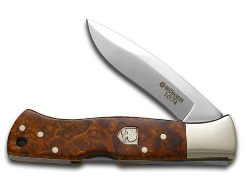 BOKER Tree Brand 1674 Amboina Wood Mamba Lockback 1/343 Stainless Pocket Knife Knives