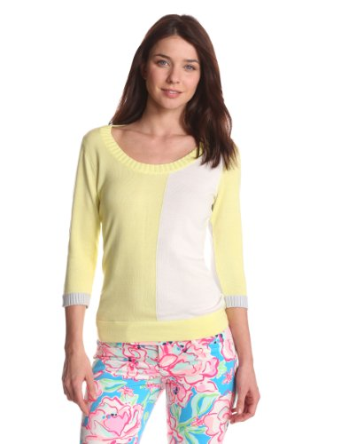 Evolution by Cyrus Women's 3/4 Sleeve Scoop Neck Sweater Top Color Block, Pistachio Punch/White Wicker/Ice Grey, Large (Cyrus 3/4 Sleeve Sweater)